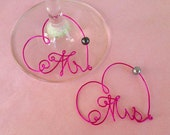 CUSTOM ORDER for Jean. Calligraphy Mr. and Mrs. Wine Glass Charms