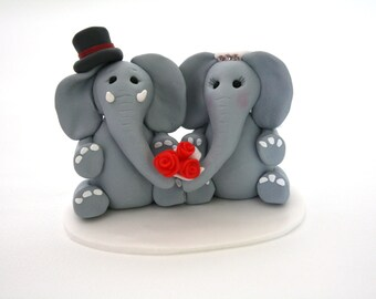 Bride and Groom Elephant Wedding Cake Toppers // With Top Hat & Veil // Ready To Go