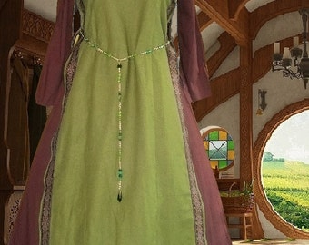 FREE SHIP Medieval SCA Garb Costume Renaissance OliveChoco Linen Bl Tabard Kirtle Undergown 2pc lxl