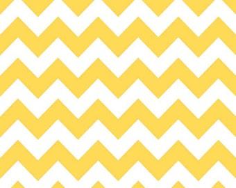 1  1/2 Yards Riley Blake Medium Chevron Yellow Cotton Fabric