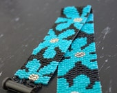 Beaded Bracelet - OOAK - Seed Beaded  Floral Bracelet - Bold  Colorful Seed Beads -Turquoise  Beaded Flowers