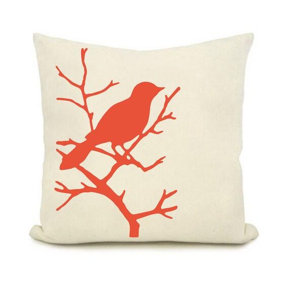 Items similar to Orange bird design print pillow, on a white background Cushion cover 18x18 Home ...