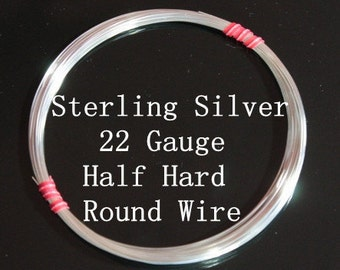 22 g ga Gauge Sterling Silver Wire - Round - Half Hard - sold by one foot increment (RW2201SS)