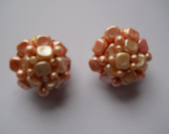 Vintage Pink Beaded Cluster Clip On Earrings