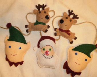 Handmade Santa and His Helpers Felt Christmas Garland