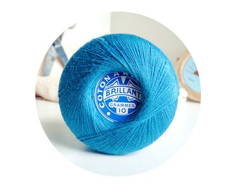 Blue coton yarn ball to darn - 8gr Vintage