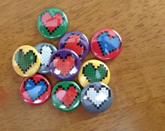 Video Game Buttons Pinback Button Set of 10 Pixel Hearts, Video Games, Nintendo, Sony, Playstation