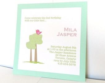 Personalized Little Bird on a tree Birthday Invitation  - set of 12