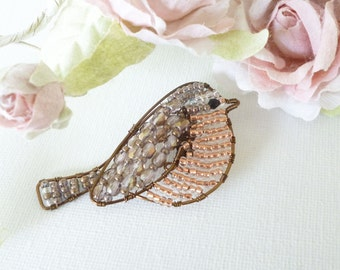 Wren Bird Brooch, beaded brooch, bird brooch, wire brooch MADE TO ORDER