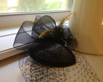 Black Birdcage Fascinator