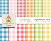 Gingham Digital Paper Pack Instant Download Digital Scrapbooking Basics Playful Style