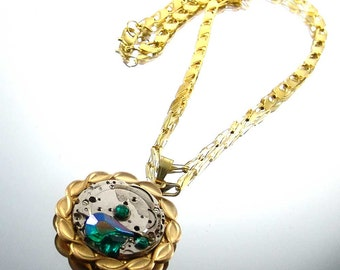 Steampunk Necklace Vintage Watch Movement., Emerald Green AB Swarovski Crystal Accents, Kay E1218