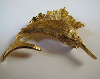 Vintage Gold Tone Metal Jumping Swordfish Brooch