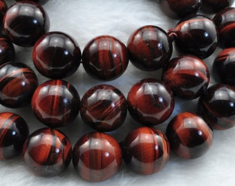 Red Tiger Eye smooth round beads 12mm,32 pcs