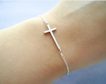 Sideway, Cross, Bracelet, Goldfilled/ Sterling Silver Chain