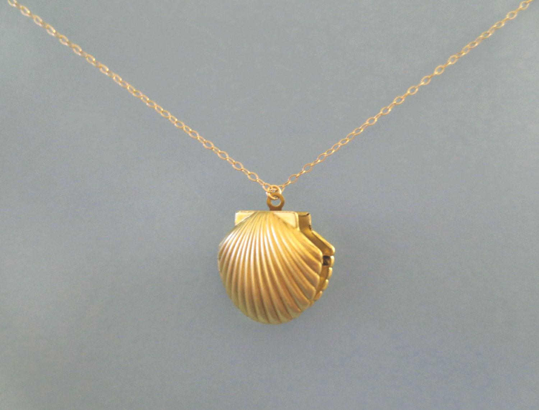mermaid shell locket photo gold necklace seashell. Black Bedroom Furniture Sets. Home Design Ideas