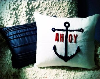 Custom Nautical Hand Embroidered Decorative Pillow