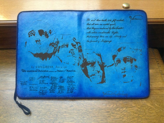 iPad Mini Case Stand Cover, Engraved Leather Case, Hand-Dyed, Suede Interior, Founding Fathers Theme, Sky Blue