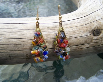 Multi-colour Stone Chip Wire Wrapped Earrings