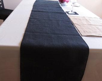 Black Burlap Table Runner
