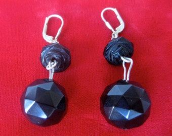 Pair of Victorian Whitby Jet Earrings