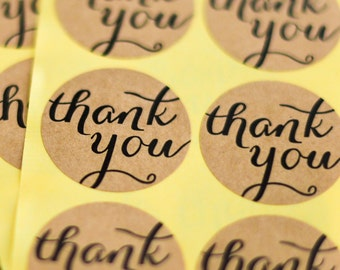 24 Thank You Kraft Circle Stickers