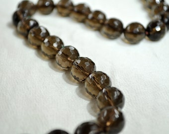 10mm Faceted Smoky Quartz Beads