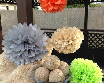 Set of 3 tissue paper pom poms / wedding decor / party supplies / paper flowers-nursery hanging poms / tissue paper flowers/paper balls-pom