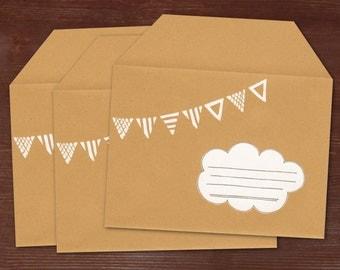 String of pennants - 3 handmade and handprinted envelopes