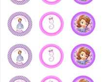 Sofia the First Birthday cupcake toppers- Sofia The First Birthday Party- Sofia The First