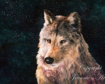 Moving Wolf print from original oil painting, double matted, 16 x 20