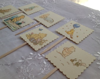 Winnie the Pooh Classic Cupcake Toppers Tigger Eeyore Piglet Christopher Robin Baby Set of 14