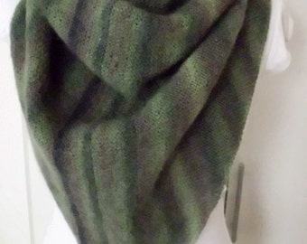 shawl, scarf, triangle scarf, handknitted, handknitting, wool, about 160x76 cm