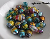 Painted Glass Beads, Lustrous Colors, Oval, size varies 13mm to 15mm Long