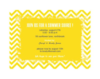 Flower Frame against a Zig-Zag yellow - Summer Garden Party Invitation