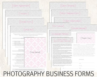 Photography business forms photography pricing template contract price list template Damask 13 psd files supplied