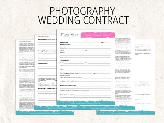 Wedding Photography Contract Business Forms Flowers Editable Templates