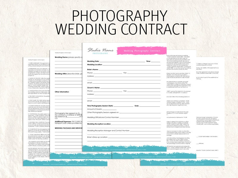Wedding Photography Contract Template Nz  Files From Users