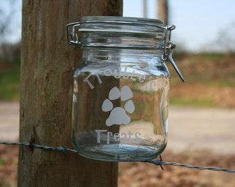 Glass Engraved Treat Container