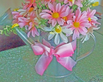 Wildflower Summer Water Pail Floral Arrangement Centerpiece