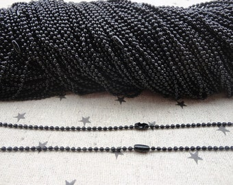 100pcs Black Ball Chain Necklaces with connectors.. 27.5 inch Chain 2.0 mm wholesale--MN63