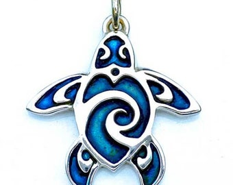Turtle tattoo necklace, sterling silver pendant with a blue patina.