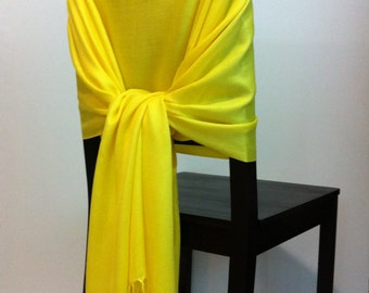 YELLOW PASHMINA, Yellow Pashmina Scarf, Yellow Pashmina Shawl, Wedding Shawl, Pashmina wrap, Bridesmaid Shawl, Wedding Favors, Chair Covers