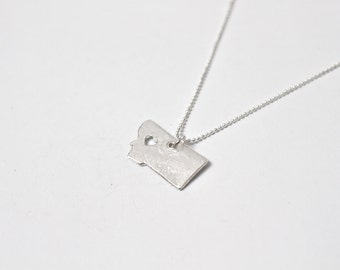 i heart Montana State Necklace - Silver - Montana Necklace MT State Pendant Montana State Charm Montana Necklace with Heart Jewelry Hometown