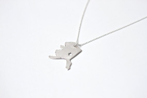 i heart Alaska State Necklace - Silver - Alaska Necklace AK Necklace Alaska State Pendant AK State Charm Alaska Necklace With Heart Jewelry