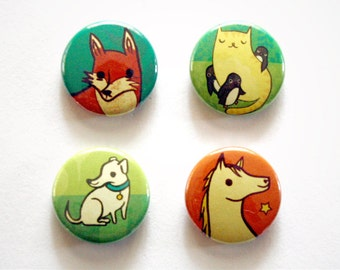 ANIMALS button set (fox horse dog cat) by boygirlparty - set of 4 animal buttons boy girl party