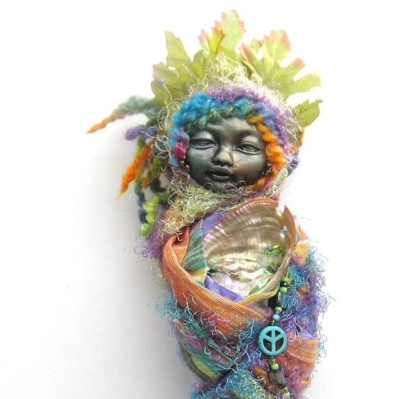 RESERVED  Ix-Chel, Mayan Lady Rainbow,  Winter Equinox Moon, Spirit Art Doll,  by Griselda