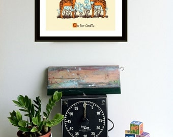 G is for Giraffe Nursery Art Print Silkscreen Alphabet Print Poster by strawberryluna Giraffe Print Kids Wall art