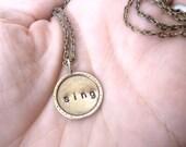 Custom Hand Stamped Textured Brass Necklace