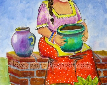 Colorful painting  pottery Woman with Flowers Acrylics Original Art